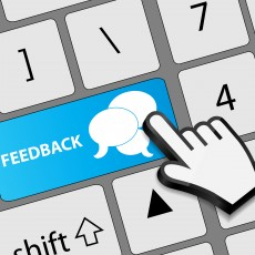 Keyboard feedback button with mouse hand cursor vector illustrat